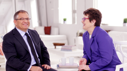 Billie Jean King being interviewed by Colin Milner, CEO, International Council on Active Aging