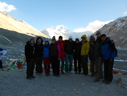 Tourists visit Mount Everest en route from Lhasa to Kathmandu