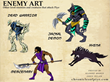 Preliminary Artwork for Enemy Characters From The Piye Chronicles Mobile Game