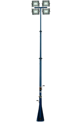 Three Stage Extendable Light Mast Equipped with Four 150 Watt Explosion Proof LED Light Fixtures