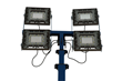 Four 150 Watt Explosion Proof LED Light Heads Mounted to a 25' Telescoping Light Mast