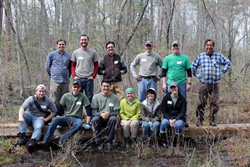 A team of Marstel-Day staff members spent the day restoring habitat at Meadowview Biological Research Station