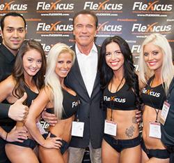 Arnold Schwarzenegger at the Flexicus booth