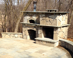 Green Mason Outdoor Fireplace, Patio & Retaining Wall