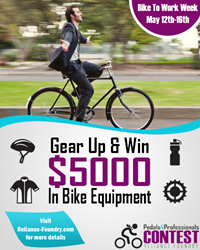 "Submit your ""bike to work"" story to Reliance Foundry for a chance to win $5,000 in bike gear!"