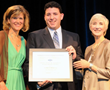 oshua P. Berkowitz accepts the 2013 Louis F. Wolf Memorial Scholarship from SMPTE Exectuive Director, Barbara Lange, and SMPTE President, Wendy Aylsworth.