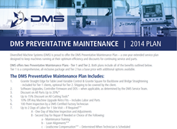 DMS CNC Routers Preventative Maintenance Plan
