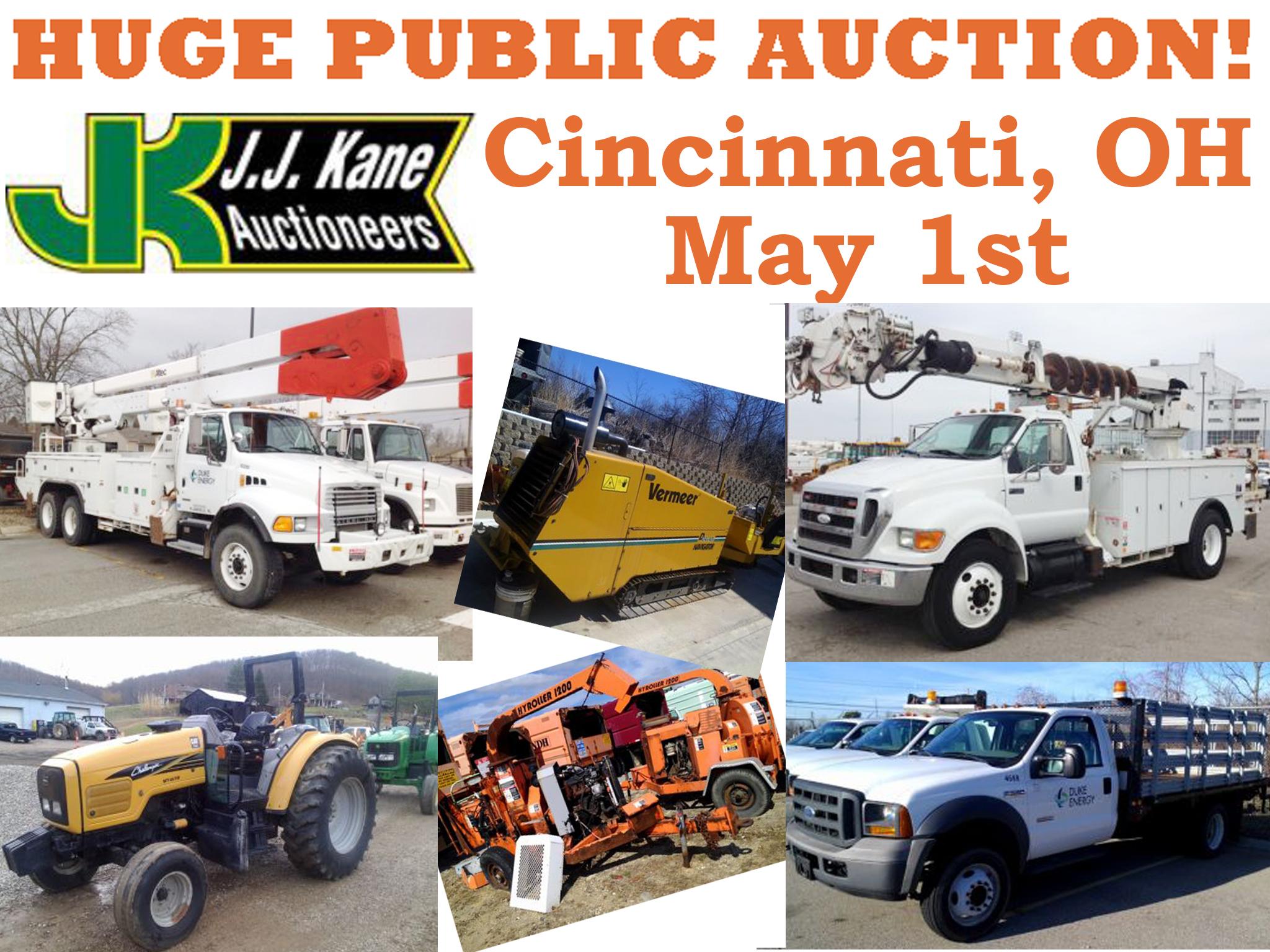 cincinnati oh huge public auction thursday may 1st 2014 fleet equipment from duke energy. Black Bedroom Furniture Sets. Home Design Ideas