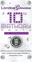 London Grooves 10th Birthday at The Anthologist 3rd May