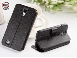 Samsung Galaxy s4 cell phone radiation case with shielded flip cover and kick stand video viewing