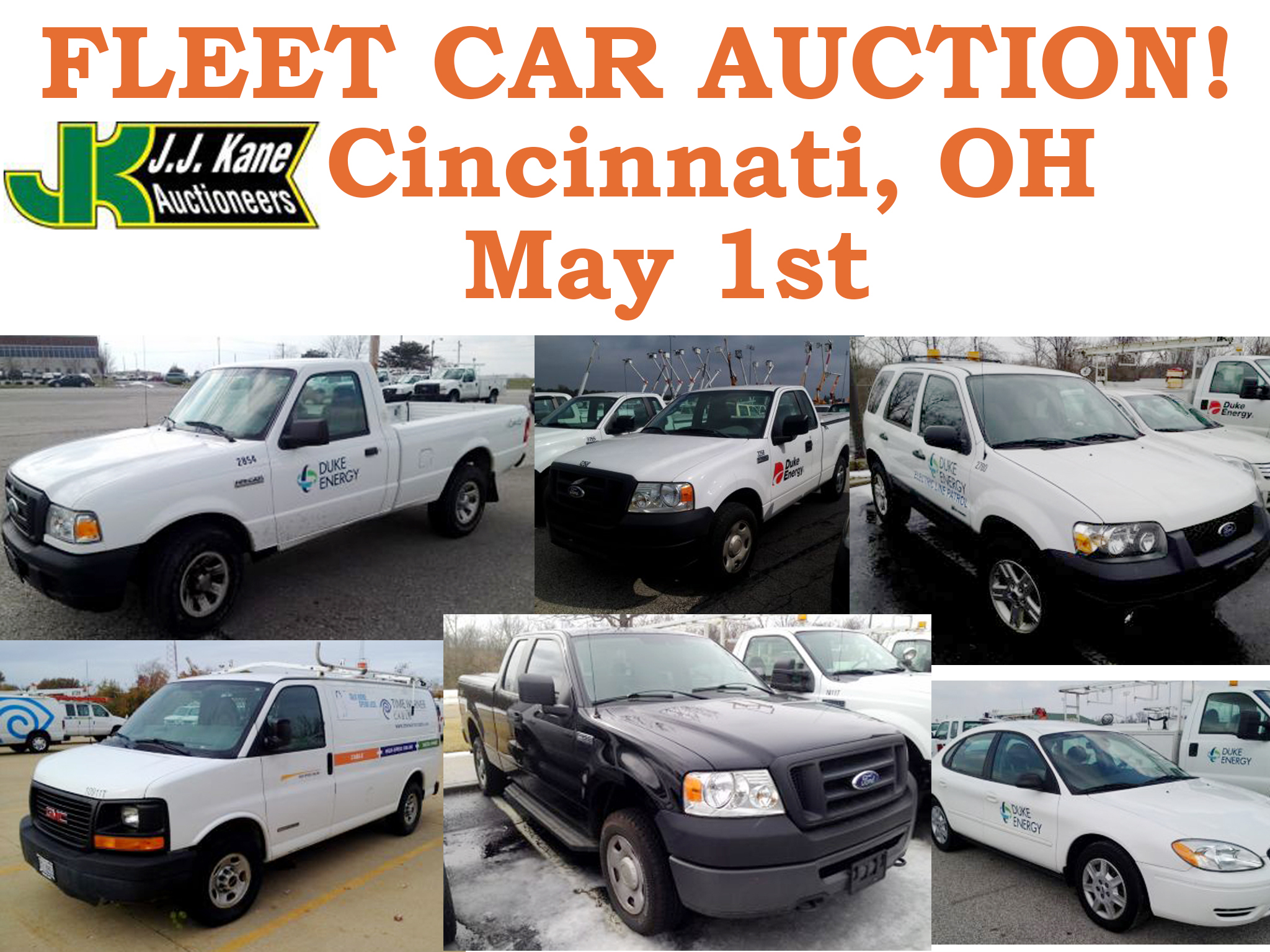 cincinnati oh local public auction thursday may 1st 2014 selling fleet vehicles from duke. Black Bedroom Furniture Sets. Home Design Ideas
