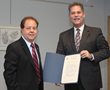 Assemblyman Thomas Abinanti (D-92nd District) presents David Goldwasser, co-chair of the 2014 Westchester/Rockland Walk4Hearing, with a Certificate of Merit.