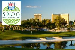 Photo of the Super Bowl of Golf Logo overlaid over a photo of Bali Hai Golf Club.