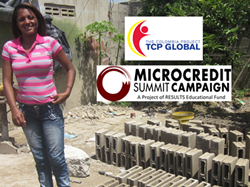 Stephanie in Barranquilla (Colombia) received a microloan to expand her small business making and selling concrete blocks