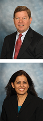 Top image: Tom Chestnut, Senior Vice President, Global Food Division, NSF International. Bottom image: Chandana Kathuria, Senior Vice President and Chief Information Officer/Lean Program Leader, NSF International