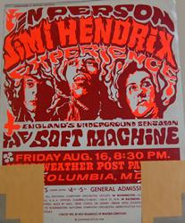 1968 Jimi Hendrix Merriweather Post Pavilion Concert Poster