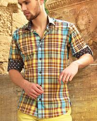 Bertigo - Orange & Turquoise Plaid Shirt