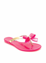 Pink Bow Thong Jelly Sandals