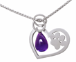 Heart-Paw Necklace by Elena Kriegner. Sterling Silver and Amethyst Drop