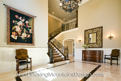 Grand entry of luxury new construction home staging by Moving Mountains Design