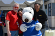 Radio Host Bert Baron from 1450 WCTC AM and News12 Anchor Bryan Jenkins pose with Snoopy at Easter Seals NJ's 5th Annual Walk With Me and 5K Run at MetLife Stadium