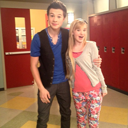 "Zayne Emory on the set of the Disney Channel smash hit ""A.N.T. Farm"" with Sierra McCormick"