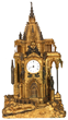 French Bronze Animated Gothic Steeple Clock