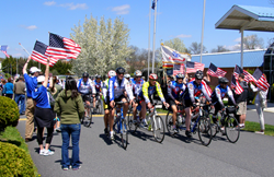 Riders reach the conclusion of the 2014 Face of America ride in Gettysburg.
