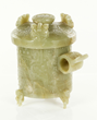 Chinese 17th/18th century jade cup with cover with floral and phoenix motifs