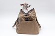 "The Outback Duffel—waxed canvas large, with ""Lily"" the dog"