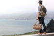 The Outback Duffel and Staad Laptop BackPack—waxed canvas with chocolate brown leather details; overlooking the San Francisco Bay