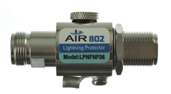 AIR802 LPNFNF N Female to N Female Bulkhead Lighting Protector 0 to 6 GHz  with tri-metal plating for low intermodulation distortion (IMD)