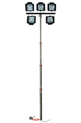5 to 13.5' Telescoping Pneumatic Light Mast with Five Quartz Light Heads