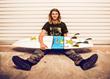 Matt Meola and his surfboard