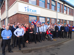 Britain's Sochi 2014 Bronze Wheelchair Curling medallist Aileen Neilson visits Star Refrigeration in Glasgow