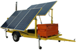 Solar Powered Pneumatic Light Mast with Six Solar Panels and a Battery Bank