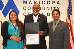 Miriam Villanueva, Chancellor Rufus Glasper, and Alberto Olivas, director of Center for Civic Participation