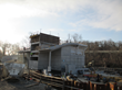 Concrete structure of the new 300-seat theater located on top of the basin.