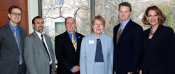 Signing of 3+3 agreement, L-R: Craig Dallon, CUSL assoc. dean, academic affairs; Mike Frantz, BVU VP enrollment management; Ed O'Connor, provost Creighton University; Marianne Culhane, dean of CUSL; BVU assoc. professors Dr. Bradley Best & Lisa Best