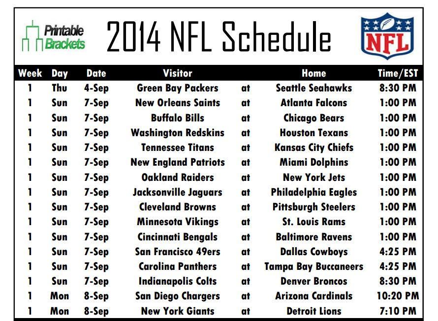 picture regarding Denver Broncos Schedule Printable identified as Printable NFL Schedules for All 32 Groups Currently Obtainable at