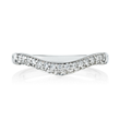 The curve features two rows of prong set diamonds.  The whole ring contains twenty-nine diamonds for a total weight of .29 carat.  It appears to be pave set on one side, while the opposite side is smo