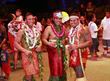 The three finalists (from L-R) Falaniko Penesa, 23 of Samoa; Via Tiumalu, Jr., 22 of Orlando; Malo Matau, Jr., 20 of Laie, HI