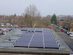 Solar panels on the roof of buildings at Churchill Square Business Centre, Kent