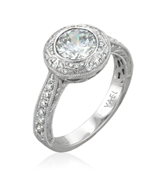 Yael Designs round engagement ring in hand-engraved 18kt white gold setting inspired by Ottoman Empire art