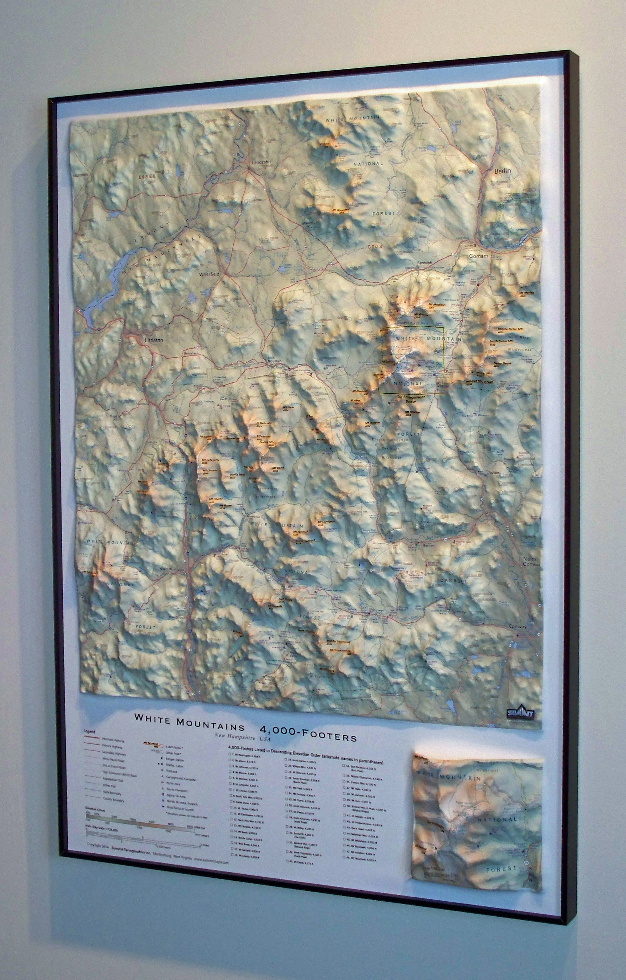 Summit Terragraphics Raised Relief Wall Map Of The White Mountains 4000 Footers Is Available With A Variety Of Framing Options