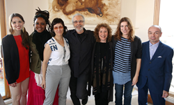 2014 Herb Alpert Award in the Arts celebrating 20 years of supporting risk–taking artists on Friday, May 9, 2014 in Santa Monica, Calif. L–R: Michelle Dorrance, Matana Roberts, Deborah Stratman, Herb Alpert, Lani Hall Alpert, Annie Dorsen, Daniel Joseph M