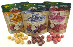 Brothers-All-Natural New Fruit Clusters™ are available in Raspberry Apple, Blueberry Apple, and Apple Cinnamon