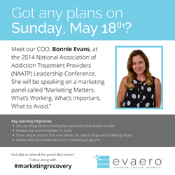 Evaero Vice President will serve on panel to discuss Addiction Treatment Marketing