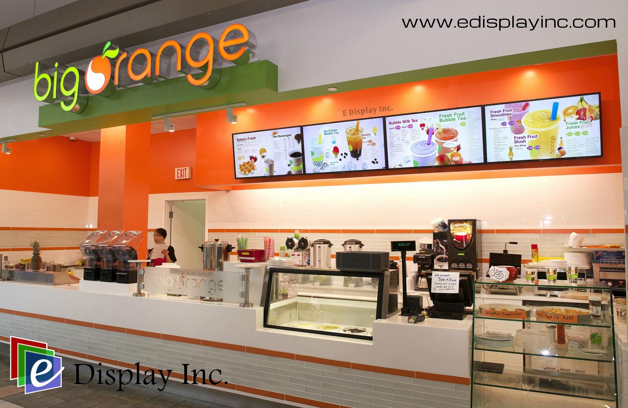 Digital Menu for Orange Display Selects Big E Inc. Boards
