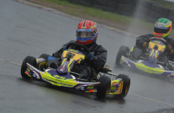 Tom Wood in action at a wet Rowrah